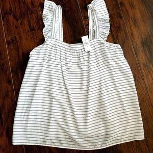 LOFT White and Black Stripe Ruffle Sleeve Top M